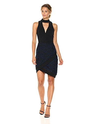 Adelyn Rae Women's Sasha Woven Mock Neck Sheath Dress W/Lace, Black/Navy, XS ()