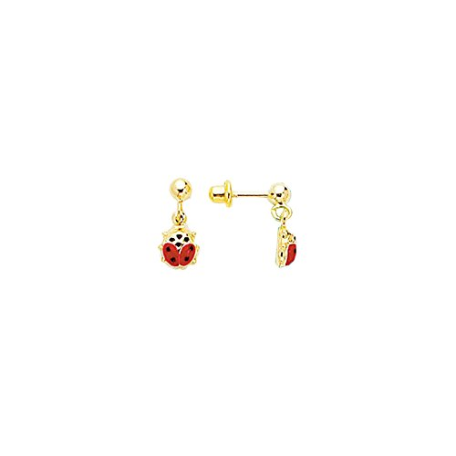 14k Yellow Gold Polish Finish Lady Bug Girls Dangle Earring by Diamond Sphere