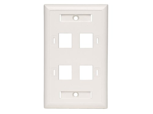 Faceplate Quad (Tripp Lite Quad Outlet RJ45 Universal Keystone Face Plate / Wall Plate, White, 4-Port (N042-001-04-WH))