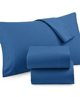 Martha Stewart Collection Solid Flannel Sheet Set (King, Flurry Blue)