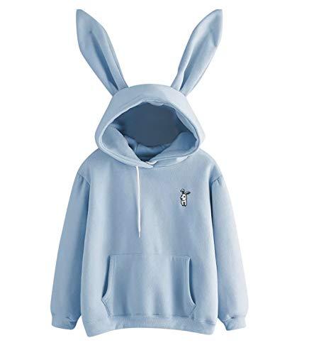 Monica's house Women's Cute Bunny Girl Hoodie Casual Cute Longsleeve Sweatshirt Pullover with Ears Sweatershirt,Bule,XL,US