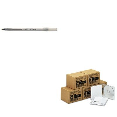 KITBICGSM11BKVER95160 - Value Kit - Verbatim CD-RW Discs (VER95160) and BIC Round Stic Ballpoint Stick Pen (BICGSM11BK) by Verbatim