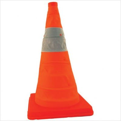Telescopic Traffic Cone 28'' Tall (4-Pack) - Only 2 1/4'' Stored With Internal LED Light
