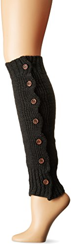Steve Madden Women's Button Side Rib Leg Warmer, Charcoal, 1-Size (Leg Warmers With Button Side)