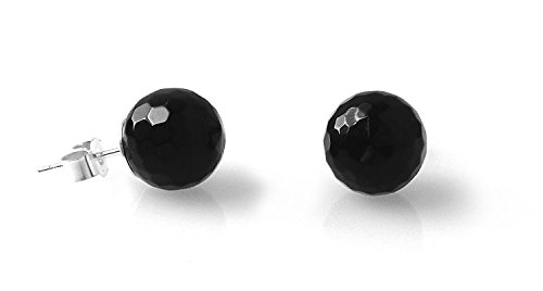 Black Onyx Faceted 925 Sterling Silver Stud Earrings (8 Millimeters)