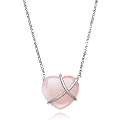 Floating Sterling Silver Natural Rose-Quartz Heart Necklace