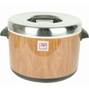 New Extra Large 60-Cup Commercial Grade Rice Pot Warmer, Sushi Rice Pot, Warm Moister-Lock Insulated Interior, Woodgrain Finish Design, NSF-Certified