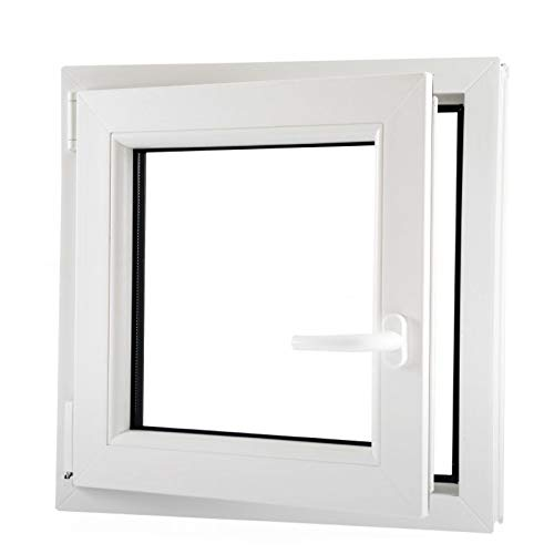   wei/ß 6 Kammern 80x80 cm Dreh-Kipp-Fenster links Kunststofffenster 800x800 mm