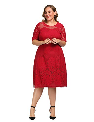 Chicwe Women's Plus Size Lined Floral Lace Dress - Knee Length Casual Party Cocktail Dress 1X Red