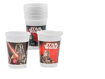 ALMACENESADAN 2283; Pack 20 Vasos para Fiesta o cumpleaños Disney Star Wars; Darth Vaders; Capacidad 200 ml; Producto de plástico.