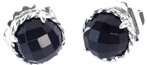 Chatelaine Silver Sterling (David Yurman Women's Sterling Silver Chatelaine Earrings 10mm Black Onyx)