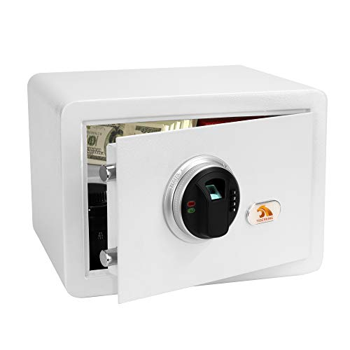 TIGERKING Security Safe Box,Biometric Fingerprint Safe, for Protection of Gun, Jewelry and Cash, Suitable for Use in Homes, Hotels, Dormitories and Offices.