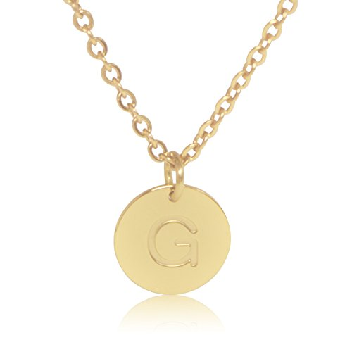 "Yellow Gold Small Initial Pendant - 18K Gold-Plated Round Disc Engraved Initial Pendant 18"" Adjustable Necklace with Personalized Alphabet Letter (G)"