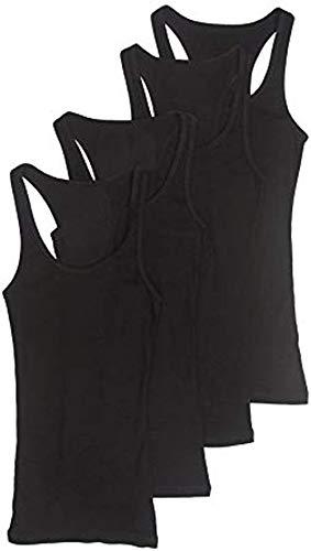 (Zenana Outfitters 4 Pack Womens Basic Ribbed Racerback Tank Top BkBkBkBk S)