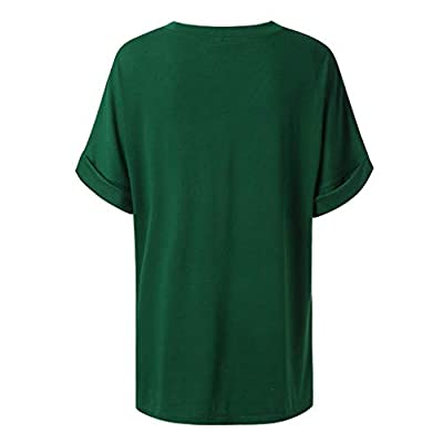 Usstore Women T-Shirt Short Sleeve Plus Size Summer Casual Essential V-Neck Loose Daily Baggy Cozy Wild Tunic Tops Tee: Clothing