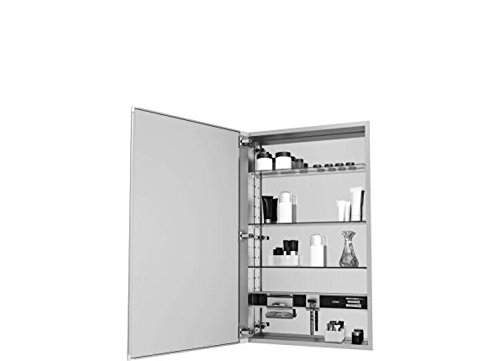 (Robern MC2030D4FPL M-Series Mirror Cabinet with Plain Edge Door, Silver)