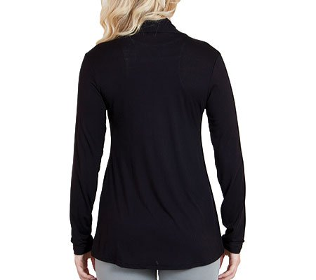 Agiato Women's Modern Draped Cardigan Black