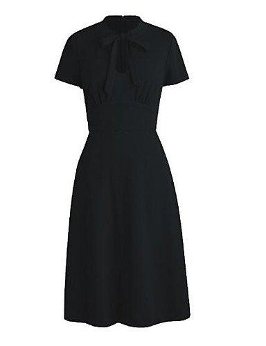 Negro Vestido Sólido Pequeño Arco Cuello Mujer Redondo M GAOLIM Negro qZ7v8aa