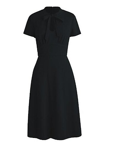 Negro Cuello Vestido Negro M Arco GAOLIM Pequeño Redondo Mujer Sólido UOqtOwpC