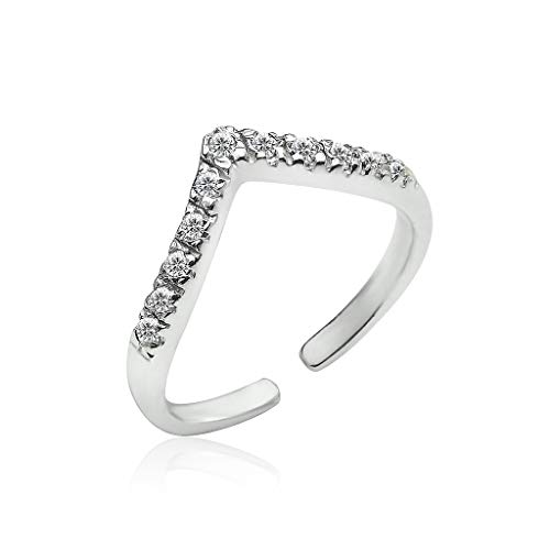 (Big Apple Hoops - Genuine 925 Sterling Silver ''Basic and Simple'' Open Knuckle/Toe Ring for Women with Sparkling Cubic Zirconia | All Day Comfort)