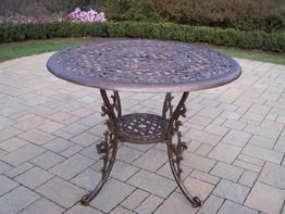 Oakland Living Mississippi Cast Aluminum Dining Table, 42-Inch, Antique Bronze