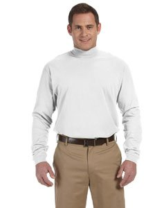 - Devon & Jones Mens Sueded Cotton Jersey Mock Turtleneck (D420) -White -L