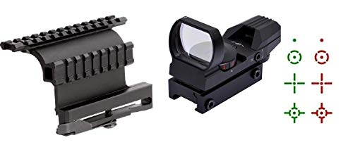 360 Tactical AK47 AK-47/SKS Side Mount Heavy Duty + Special Edition Reflex Red/Green Dot Sight with 4 Reticles