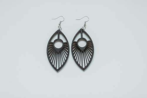 Wood Peacock Feather Earrings from Solid Black Stained Maple