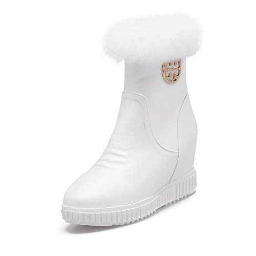 AllhqFashion Women's Soft High-Heels Material Zipper Round Closed Toe High-Heels Soft Low-Top Boots B01NBCA2FG Shoes a81fc0