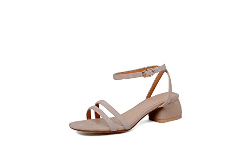 Special Shop Summer Open Toe Word Buckle Medium Sandals Comfort Daily Clean Women Shoes Apricot 35
