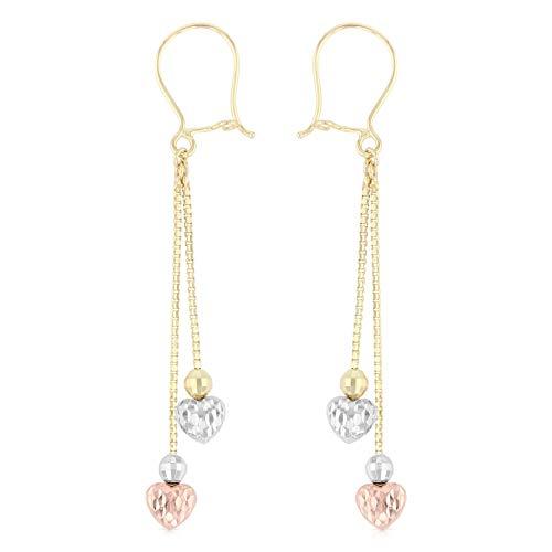 Ioka - 14K Tri Color Gold Fancy Dangle Hanging Shepherds Hook Earrings