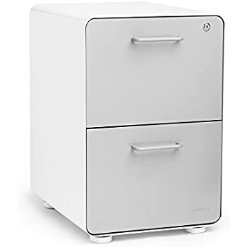 Poppin White + Light Gray Stow 2 Drawer File Cabinet, Metal, Legal/