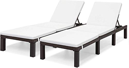 OAKVILLE FURNITURE 61702 Outdoor Patio Rattan Adjustable Pool Chaise Lounge Chair, Set of 2, Brown Wicker, Beige Cushion