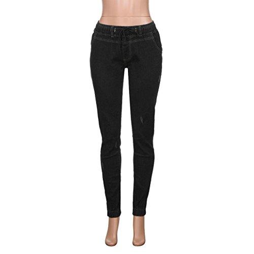 Lunghi Stretch Jeans Skinny Denim Elasticizzato Casual Pantaloni Chino Uomo Slim Morwind Corti Fit Pantalone Business Nero tZqwTa5