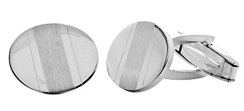 Amoro Italian Sterling Silver Satin and Polished Cufflinks