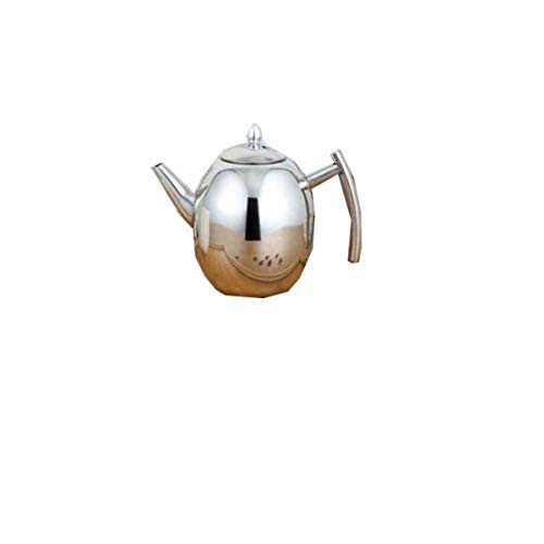 Juzhenma Thick 304 Stainless Steel Outdoor Teapot Restaurant with Teapot with Strainer Hotel Restaurant Kettle Cooker Large Teapot 1L (0.3 Gallon) 1.5L (0.4 Gallon) (Capacity : 1L, Color : Silver) ()