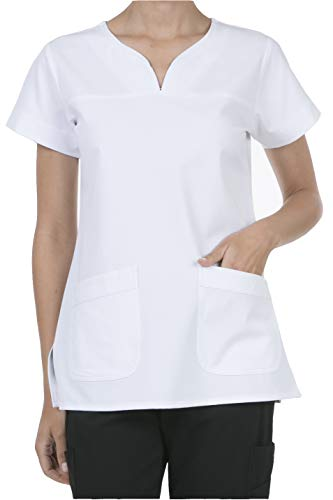8045 Women's Uniform Scrubs Medical 2 Pocket Scrub Top White M