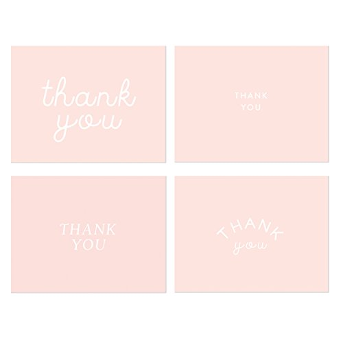 Pink Thank You Note Cards, Stylish Thank You Cards Perfect for Baby Showers, Bridal Showers, Birthdays & Graduations, Card Stock, Includes 36 White Envelopes (Millennial Pink,4 Designs)