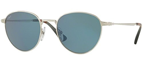 (Persol Men's Round Frame Sunglasses, Silver/Light Blue, One Size)