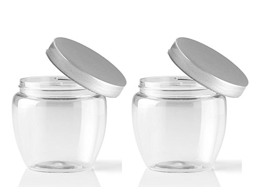- Grand Parfums 8 Oz PET Jar Venetian Style with Sloped Sides and Colored Caps - 70mm - 240mL Volume (12 Jars, Silver Pearl Lids)