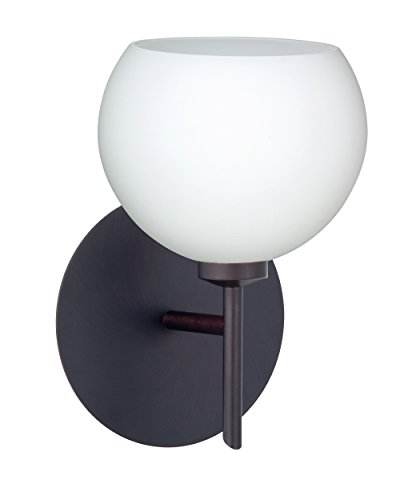 Besa Lighting 1SW-565807-LED-BR Besa, Palla 5 Mini Sconce, Opal Matte, Bronze Finish, 1x5W LED