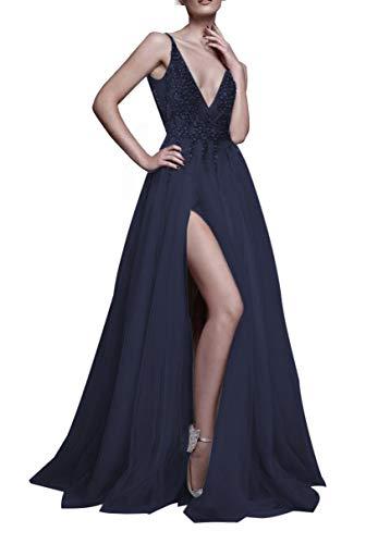 2019 Prom Dresses Deep V Neck Sequins Tulle