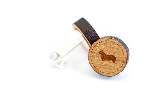 (WOODEN ACCESSORIES COMPANY Wooden Stud Earrings With Pembroke Welsh Corgi Laser Engraved Design - Premium American Cherry Wood Hiker Earrings - 1 cm)
