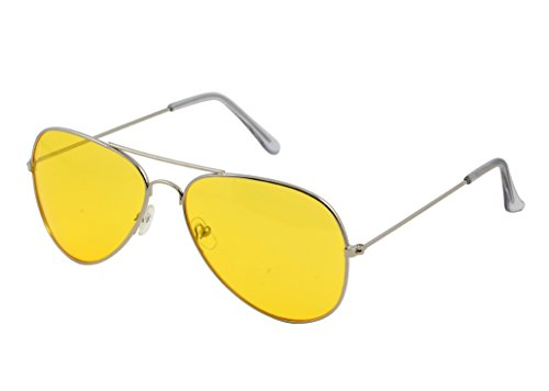 OX Legacy Yellow Aviator Blue Light Blocking Glasses, 60mm Silvertone Wire Metal - Glasses Shooting Yellow Aviator