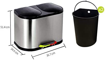 ZWJ-ゴミ箱 ゴミ箱分類ステンレススチールペダルキッチンリビングルームコミュニティダブルバレル屋外20L