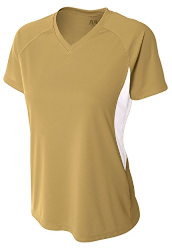 A4 Women's Short Sleeve Cooling Performance Color Block Tee, Vegas Gold/White, Medium - Gold Colour Block
