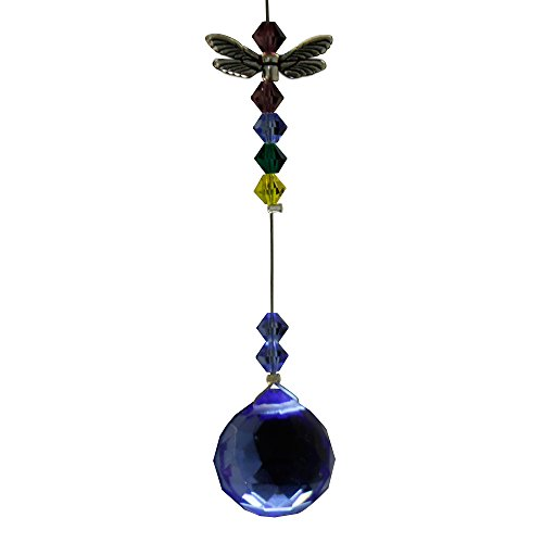 Dragonfly Figurine Comes with 20mm Blue Crystal Ball - Rainbow Maker - Crystal Suncatcher - Home, Living Room, Bedroom, Kitchen, Car Decoration - Porch Decor - Sun Catcher - Hangings Crystal Glass Ornament