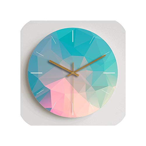 Wenzi-day Colorful Creative Wall Clock Wooden Home Decoration Wall Clock Modern Fashion Silent Metal Round Clock,14 inch