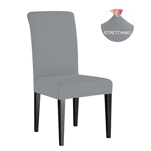 Subrtex 4 Pack High Fit Stretch Removable Washable Dining Chair Protector Cover for Hotel, Dining Room, Ceremony, Banquet Wedding Party Modern Stretch Chair Covers (4 Pieces, Light Gray Checks)