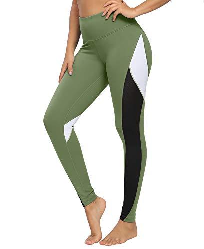 QUEENIEKE Damen Yoga Leggings 25 Zoll Schrittlänge Neunte Hose Farbe Blocking Mesh Workout Laufleggings Strumpfhosen